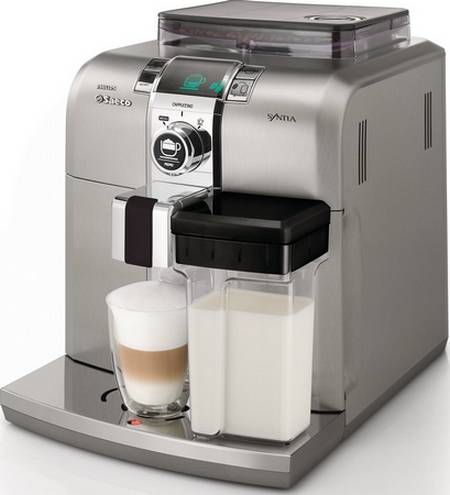 Saeco syntia hd8838 01 cappuccino cafeti re expresso broyeur - Machine a cafe avec broyeur integre ...